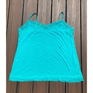 Lane Bryant Size 22/24 Teal Lace-Trim Camisole